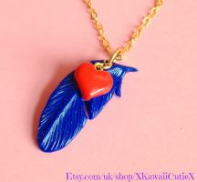 Harvest Moon Necklace, Blue Feather, Heart Events by xhellojackiex