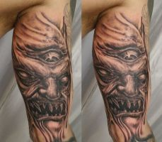 Horror Demon Face Eye TaT by 2Face-Tattoo