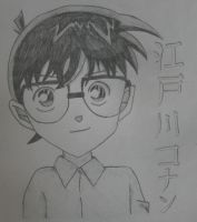 Pencil Sketch- Conan Edogawa by SourpatchDevil