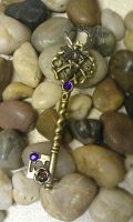 Midnight Fairy Fantasy Key Pendant by ArtByStarlaMoore