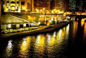 Chicago River at Night by Rookie2209