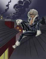 Black Cat Pin-Up - Rooftops - Colored - Final by pureluck13
