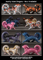 Jaunty Dragons Now Available by emilySculpts