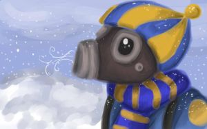 Pyro in the snow by KittensInABlenDur
