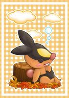 Tepig Sleeping in Autumn by sekihiro