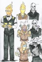 UT Grillby (and one annoying skeleton) by GamerSelkie