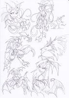Darkstalkers sketches1 by NachoMon