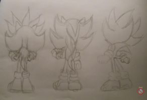 Super Sonic shadow and Silver sketch by shadowhatesomochao
