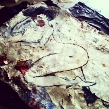 Wild Woman eatin a living coq  (in progress) by systaeaz
