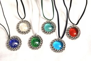 Chainmaille-Wrapped Glass Pendants - Silver by SerenFey