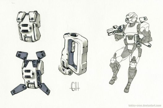 Inktober Day 9 (EVA Maneuvering Gear) by Tekka-Croe