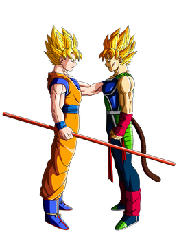 Son Goku and Bardock by orco05
