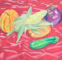 Vegtables on Red Cloth by OrandeArt
