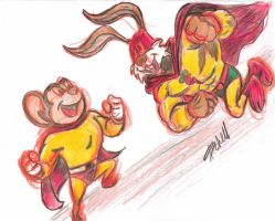 Mighty Mouse vs Captain Carrot by AlanSchell
