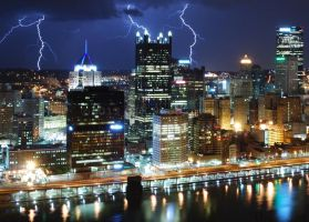 Lightning - Downtown Pittsburgh - 031512 - 2 by GTX-Media