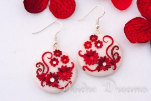 Rose Garden Red White Valentine Earrings by DeidreDreams