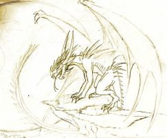 Vampire Dragon Sketch by awesomedarkdragon