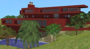 Sims 2 Modern red home by RamboRocky