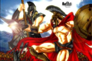 Achilles v Leonidas -Colored by ssejllenrad2
