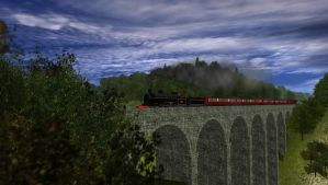 LNWR Experiment Class Crossing a Viaduct by CaptainKman
