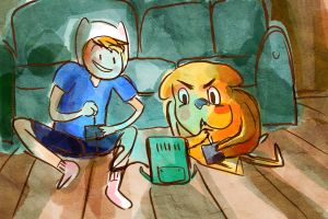 Finn and Jake Print by manonquinn