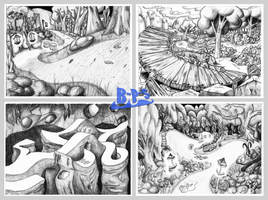 Forests, Caverns, Lanterns and Wooden Ramps by Blue-Paint-Sea