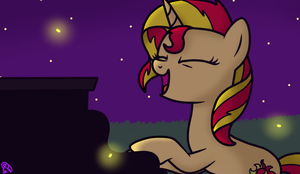 Sunset Shimmer plays the piano by Asya-Friendly