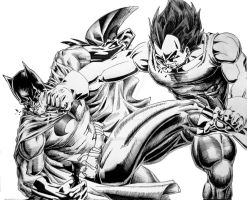 Vegeta vs Batman by TicoDrawing