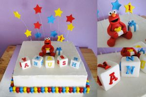 Commission: First Birthday Elmo Cake by cakecrumbs