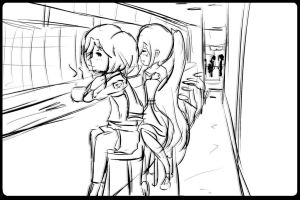 Sketch - kyoko and sora by flutter-chi