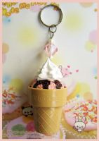 White Cream Ice Cream Keychain by cherryboop