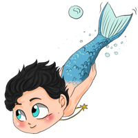 Hannibal mermaid AU - Swimming boy by FuriarossaAndMimma