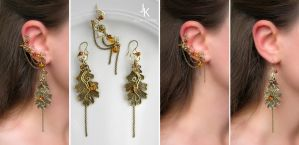 Autumn earrings and ear cuff Whisper of the leaves by JuliaKotreJewelry