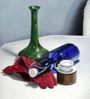 Blue Bottle - Painting by Rowen-silver
