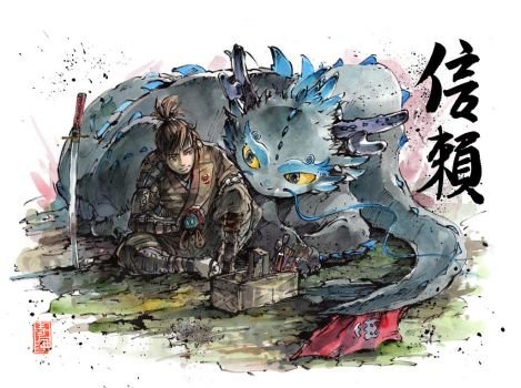 Hiccup and Toothless...samurai style! by MyCKs