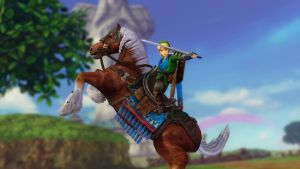 Screen capture Link and Epona in Skyloft by PrincessMoonSilver