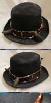Old West Steampunk Buffalo Horned Hat Band by Windthin