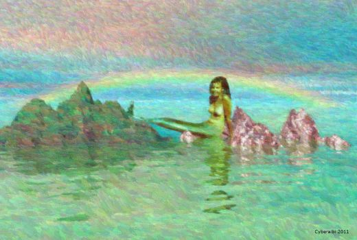 Seascape, mermaid and rainbow - fantasy art by Cyberalbi