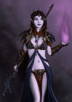 Amarasha - Dark Elf Sorceress by I-M-M-O