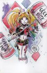 Watercolor: Harley Quinn (again) by mikemaihack