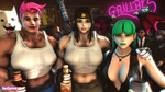 Connie, Morrigan, and Zarya at Grillby's by GenSamus