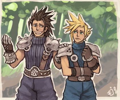 Zack and Cloud strolling along by emlan