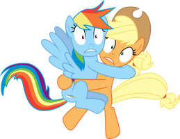Rainbow and Applejack Exposed by Jeatz-Axl