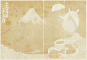 totoro : mount fuji by blackflamewhiteashes