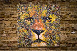 Spray paint art LION original multi color by colorpeoject