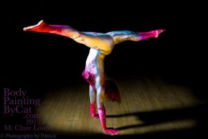 Bendy clare split handstand metallic bodypaint by Bodypaintingbycatdot