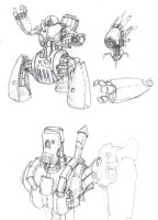 Random steam mech designs by Galiford
