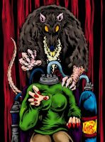 Giant Rat And Headless Woman by MonsterInk