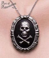 Gothic Skull Cameo Necklace/Pin by ArtOfAdornment