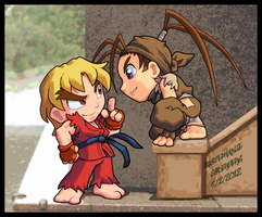 Street Fighter: Flirty Ken vs. Curious Ibuki. by LuLuLunaBuna
